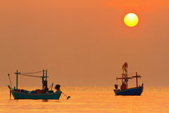 Fishing Boat at Sunrise Royalty Free Stock Images