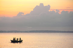 Fishing Boat at Sunrise Stock Photo