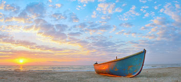 Fishing boat and sunrise Royalty Free Stock Images