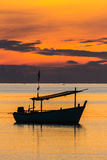 Fishing boat in sunrise mood Royalty Free Stock Image