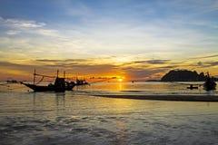 Fishing boat and sunrise Royalty Free Stock Image