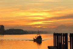 Fishing Boat Sunrise, Steveston Stock Photos