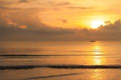 Fishing boat sunrise royalty free stock photo