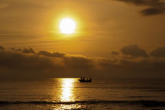 Fishing boat sunrise stock photography