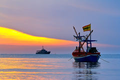 Fishing Boat at Sunrise Stock Photography