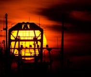 Fishing boat sunset Stock Image