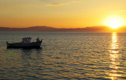 Fishing boat at sunset Royalty Free Stock Photography