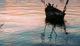 Fishing boat with sunset Royalty Free Stock Photography