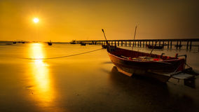 Fishing boat with sunset. Closeup fishing boat with sunset royalty free stock images