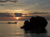 Fishing boat and sunset, Thailand Royalty Free Stock Photo
