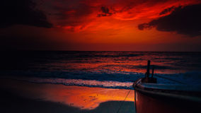 Fishing boat. A sunset theme from a fishing boat's point of view Stock Photos