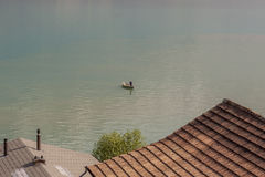 Fishing boat - Thunersee lake. Stock Photo