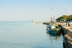Fishing boat tied to the harbor in diu gujarat royalty free stock image
