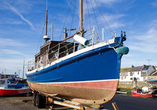Fishing boat on trailer Royalty Free Stock Photography