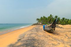 Fishing  Boat on Tropical beach Royalty Free Stock Image
