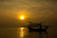 Fishing boat in twilight Stock Photo