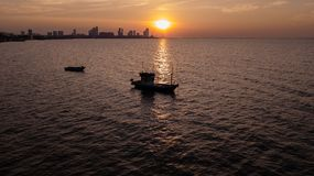Fishing boat in Twilight time Royalty Free Stock Photo