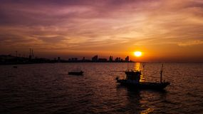Fishing boat in Twilight time Royalty Free Stock Photography
