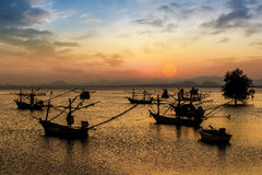 Fishing boat on twilight Royalty Free Stock Photo