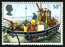 Fishing Boat UK Postage Stamp Royalty Free Stock Photos