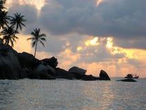 Fishing Boat under Sunset/Sunrise Royalty Free Stock Photo