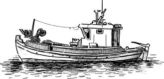 Fishing boat. Vector drawing of the old greek fishing boat Stock Photos