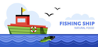 Fishing boat, vector illustration Stock Images