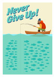 Fishing on the boat. Vector poster. Stock Photography