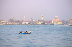 Fishing boat in Venice lagoon Stock Photo