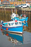 Fishing boat at Whitby: rods and lines. Rods and lines for sea angling  in a fishing boat at Whitby Harbor in East Yorkshire Royalty Free Stock Photo