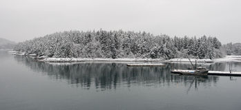 Fishing boat in winter. Royalty Free Stock Photography