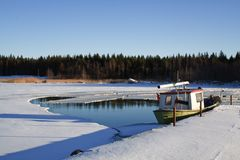 Fishing boat in wintertime Stock Photography