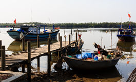 The fishing boat,wooden bridge on the boat Stock Photography
