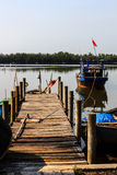 The fishing boat,wooden bridge on the boat royalty free stock image
