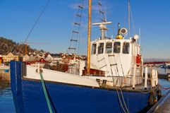 Fishing boat with a wooden mast Royalty Free Stock Image