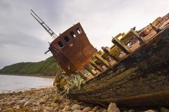 Fishing boat wreck close up Royalty Free Stock Image