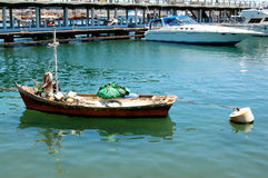 Fishing boat and yacht Royalty Free Stock Images