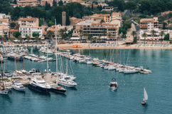 Fishing boat and yachts in Puerto de Soller, Majorca Stock Photography