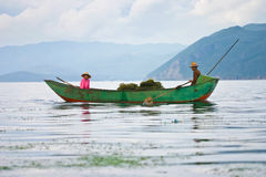 Fishing boat, Yunnan Royalty Free Stock Photos