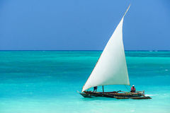 Fishing boat in Zanzibar. Coast stock photo