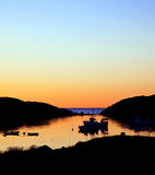 Fishing boats. In the sunset stock photo