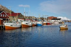 Fishing boats. In a harbor in the Lofoten Islands, Norway Royalty Free Stock Photo