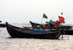 Fishing Boats. Bamboo fishing boats anchored off Danang Beach, Vietnam Stock Photography