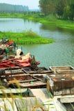 Fishing boats. Fishing vessels in Weishanhu lake Royalty Free Stock Photo