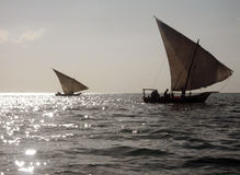 Fishing Boats. Fishermen in their Boats, Zanzibar, Tanzania Royalty Free Stock Images