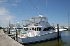 Fishing boats. Moored by pontoon Royalty Free Stock Photography