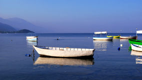 Fishing Boats. On a still water in Ohrid lake, Republic of Macedonia Royalty Free Stock Image