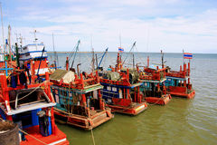Fishing boats. Along the shores of the Gulf of Thailand royalty free stock photos