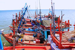 Fishing boats. Along the shores of the Gulf of Thailand stock photo