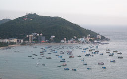 Fishing boats. View of the harbor from the top of the mountain, Vung Tau, Vietnam Royalty Free Stock Images